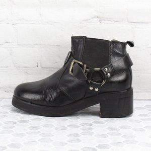 Topshop Booties Harness Buckle Heeled Ankle Boots